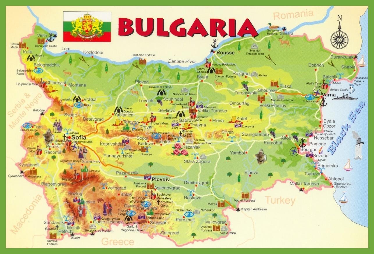 Mapa Turystyczna W Bulgarii Bulgaria Przegladowa Mapa Europa